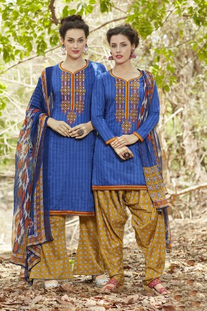 Fantastic Blue Pure Cotton Heavy Embroidery Digital Print Top with Digital Printed Dupatta Salwar Kameez