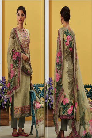 Sparkling Brown Grey Pure Lawn Cotton Embroidered and Digital Printed Salwar Kameez