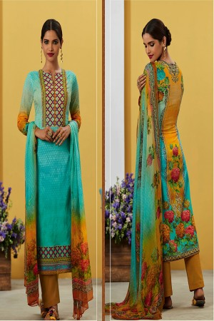 Charismatic Sky Blue Pure Lawn Cotton Embroidered and Digital Printed Salwar Kameez