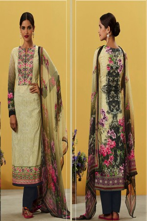 Vibrant Cream Pure Lawn Cotton Embroidered and Digital Printed Salwar Kameez