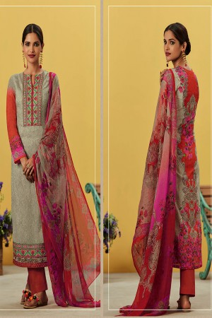 Impressive Brown Grey Pure Lawn Cotton Embroidered and Digital Printed Salwar Kameez
