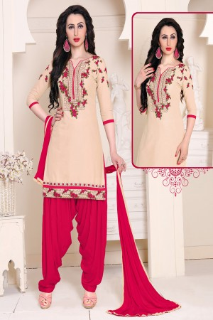 Awesome Cream Cotton Heavy Embroidery on Neckline and Sleeve with Lace Border  Dress material
