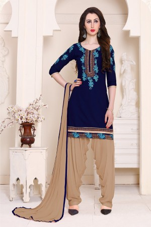 Eye catching Navyblue Cotton Heavy Embroidery on Neckline and Sleeve with Lace Border  Dress material
