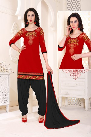 Elegant Red Cotton Heavy Embroidery on Neckline and Sleeve with Lace Border  Dress material