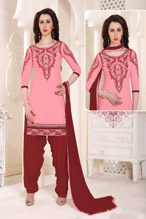 Delusive Pink Cotton Heavy Embroidery on Neckline and Sleeve with Lace Border  Dress material