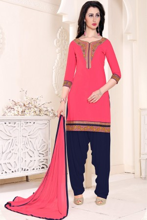Immaculate Peach Cotton Heavy Embroidery on Neckline and Sleeve with Lace Border  Dress material