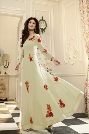 Desirable Offwhite Georgette Thread Embroidery Butta Work Anarkali Suit