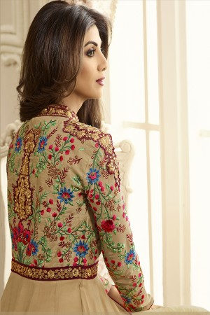 Beguiling Chiku Georgette Heavy Embroidery on Neck and Sleeve with Patch Work Anarkali Suit