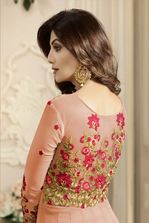 Fantastic Fenta Georgette Heavy Embroidery on Neck and Sleeve with Lace Border Anarkali Suit