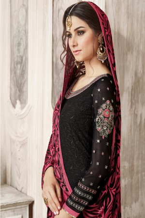 Brilliant Black Georgette Heavy Embroidery on Neck with Schiffly Work Top Salwar Kameez