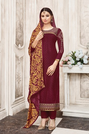 Creative Maroon Georgette Heavy Embroidery on Neck with Schiffly Work Top Salwar Kameez
