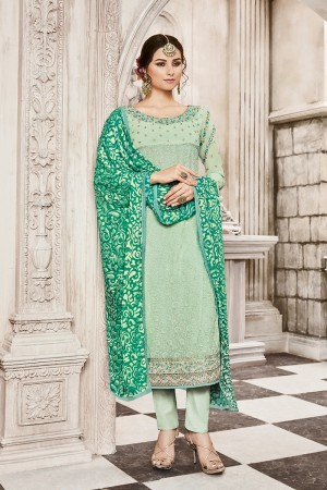 Enticing Light Mint Green Georgette Heavy Embroidery on Neck with Schiffly Work Top Salwar Kameez