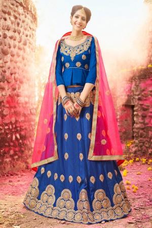 Divine Blue Banglori Silk Heavy Embroidery and Hand Work Lehenga Choli