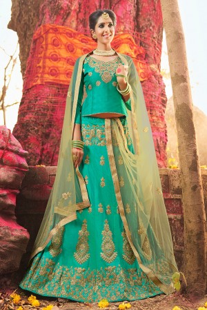 Desirable Rama Green Banglori Silk Heavy Embroidery and Hand Work Lehenga Choli