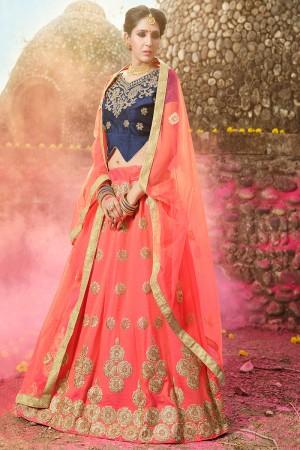 Designer Pink Banglori Silk Heavy Embroidery and Hand Work Lehenga Choli