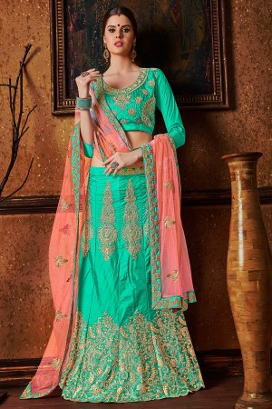 Enticing Rama Green Banglori Silk Heavy Embroidery and Hand Work Lehenga Choli