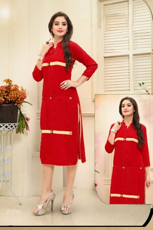 Dynamic Red Rayon Handmade Buttons Kurti