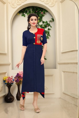Immaculate Blue Rayon Embroidery on Pocket with Handmade Buttons Kurti