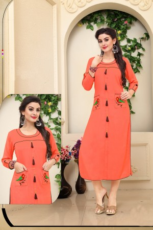 Blooming Orange Rayon Embroidery on Pocket with Pom Pom Work Kurti