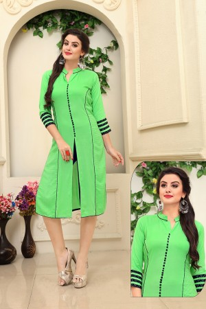 Definitive Parrot Green Rayon Embroidery and Print Work Kurti