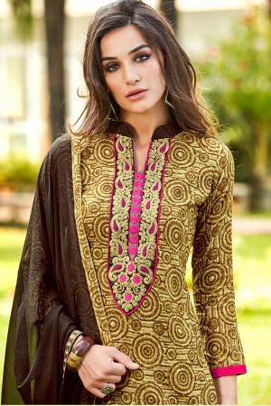 Versatile Yellow Pure Cotton Neckline Embroidery   Dress material