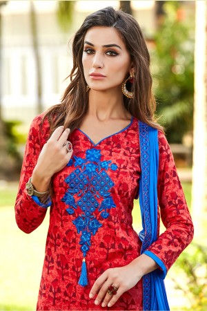 Charming Red Pure Cotton Neckline Embroidery   Dress material