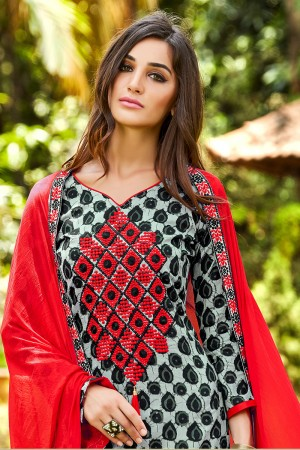 Dazzling Black&Grey Pure Cotton Neckline Embroidery   Dress material