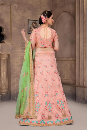 Glossy Peach Mulberry Silk Designer Heavy Embroidery Work Lehenga Choli