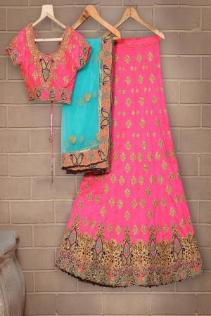 Sensuous Pink Mulberry Silk Designer Heavy Embroidery Work Lehenga Choli