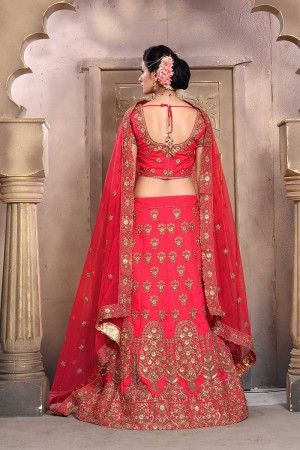 Aesthetic Red Mulberry Silk Designer Heavy Embroidery Work Lehenga Choli