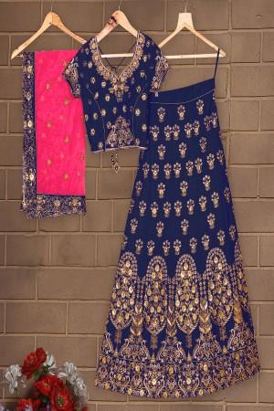 Beauteous Navy Blue Mulberry Silk Designer Heavy Embroidery Work Lehenga Choli