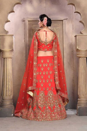 Amiable Orange Mulberry Silk Designer Heavy Embroidery Work Lehenga Choli