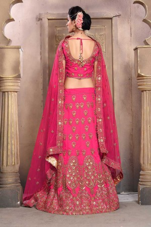 Adorable Rich Pink Mulberry Silk Designer Heavy Embroidery Work Lehenga Choli