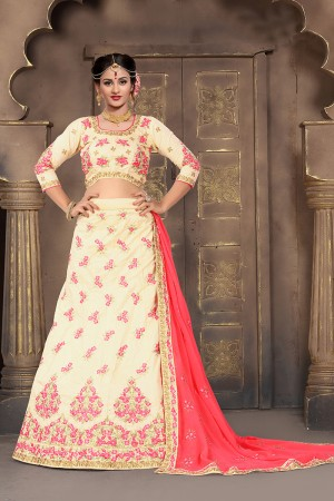 Versatile Off White Mulberry Silk Designer Heavy Embroidery Work Lehenga Choli
