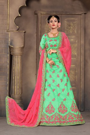 Delightful Sea Green Mulberry Silk Designer Heavy Embroidery Work Lehenga Choli