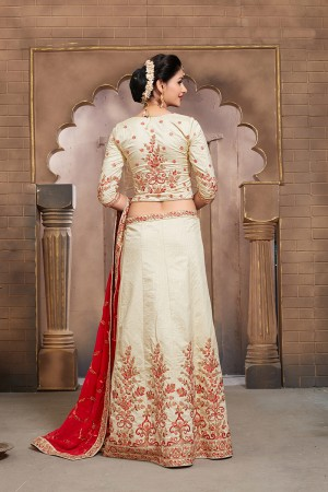 Charming Off White Mulberry Silk Designer Heavy Embroidery Work Lehenga Choli