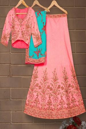 Dazzling Salmon Mulberry Silk Designer Heavy Embroidery Work Lehenga Choli