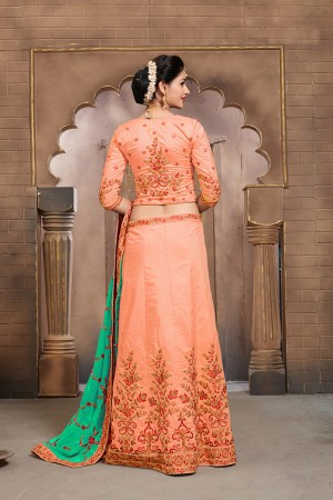 Exuberant Coral Mulberry Silk Designer Heavy Embroidery Work Lehenga Choli