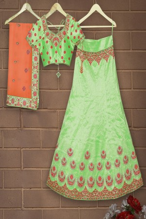 Elegant Apple Green Mulberry Silk Designer Heavy Embroidery Work Lehenga Choli