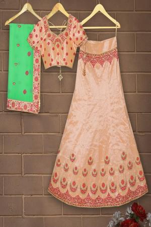 Dynamic Peach Mulberry Silk Designer Heavy Embroidery Work Lehenga Choli