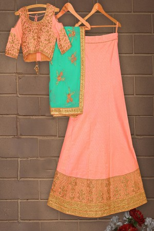 Outstanding Peach Mulberry Silk Designer Heavy Embroidery Work Lehenga Choli