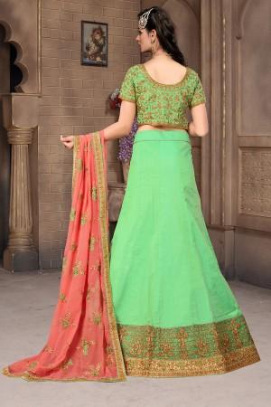 Delusive Apple Green Mulberry Silk Designer Heavy Embroidery Work Lehenga Choli