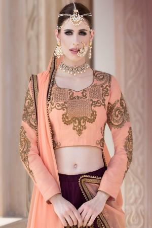 Glamorous Wine Banglori Silk Designer Heavy Embroidery Lehenga Choli