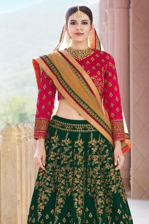 Aesthetic DarkGreen Banglori Silk Designer Heavy Embroidery Lehenga Choli