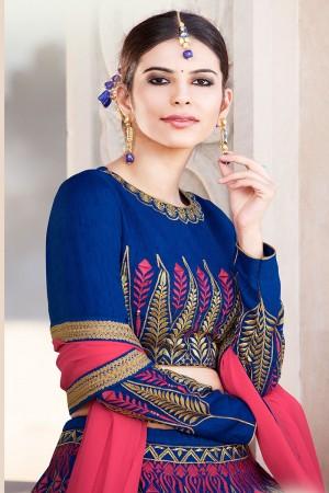 Amiable Blue Banglori Silk Designer Heavy Embroidery Lehenga Choli