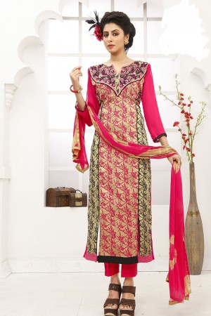 Stupendous Cream Cotton Heavy Embroidery on Neck with Lace Border Dress material