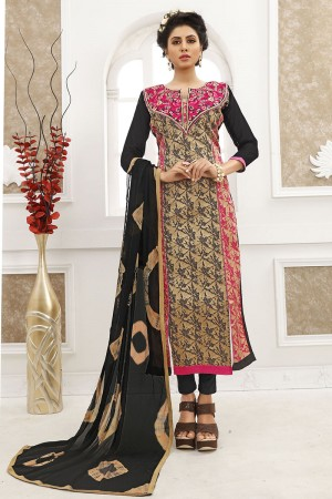 Mind Blowing Cream Cotton Heavy Embroidery on Neck with Lace Border Dress material