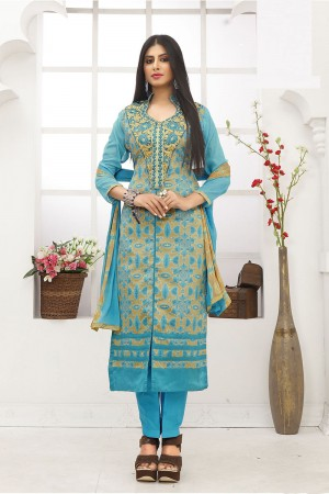 Charismatic Skyblue Cotton Heavy Embroidery on Neck with Lace Border Dress material