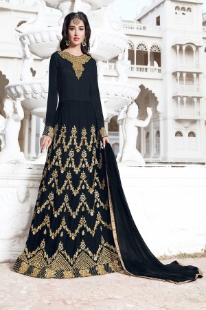 Impressive Black Georgette Heavy Embroidery Kali Work with Lace Border Semi Stitch Salwar Kameez