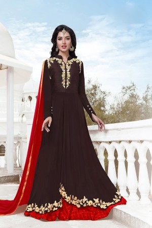 Stylish Brown Georgette Heavy Embroidery on Neck with Lace Border Semi Stitch Salwar Kameez